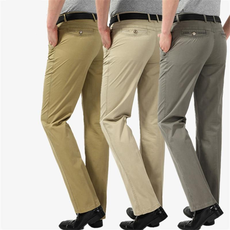 Size 29-40 Summer High quality Men 's Pants Casual Business Trousers 100% Cotton Office Formal Straight Suit Pants worksuit Male-cgabuy