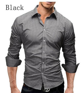 Plaid Shirt 2018 Spring Casual Men Shirt Mens Dress Shirt Slim Fit Plaid Shirt Long Sleeve Camisas XXL-cgabuy