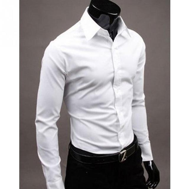 2018 New Spring Men Shirt Long Sleeve Brand Clothing Man Dress Shirts Fashion Slim Social Fit Chemise-cgabuy