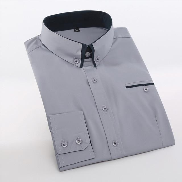 Men's Wedding 2018 Shirt Long Sleeve Men Dress Shirt Business Solid Color Casual Shirts Work Wear Formal Slim Shirt Man CY18001-cgabuy