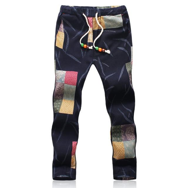 2018 Summer Designer Linen Pants Men Printing Casual Jogger Pants Boys-cgabuy