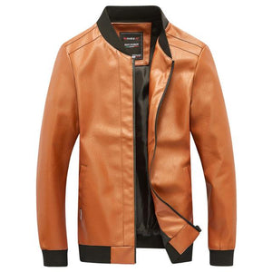 New 2018 Spring Autumn New Men's Leather Jacket Pure Color Leather Teenager Fashion Baseball Tie Locomotive Big Size Coats-cgabuy