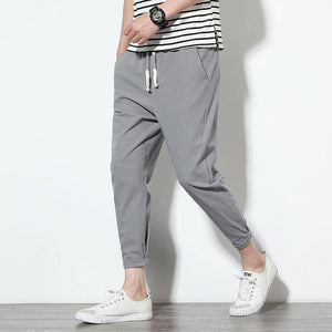 2018 Brand Summer Autumn Cotton Linen Casual Harem Pants Men Fashion Thin Slim Fit Pencil Male Trousers Clothing M-5XL-cgabuy