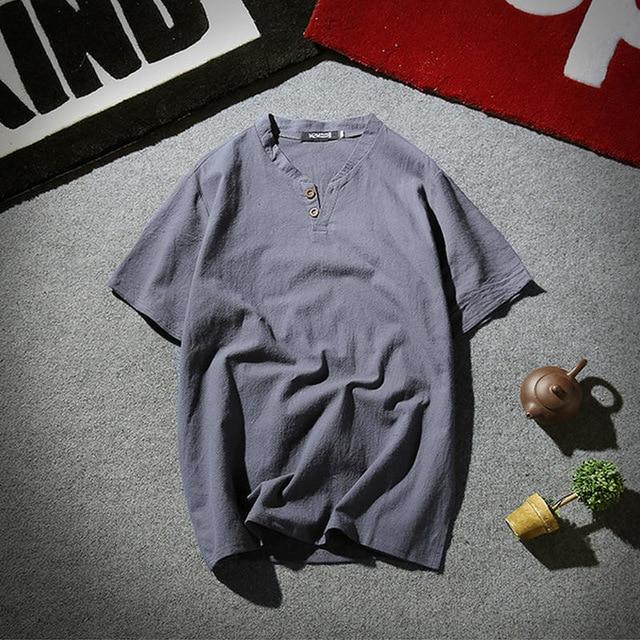 Mens Pullover Linen Shirts Short Sleeve Summer Breathable Mens Quality Casual Shirts Slim fit Solid Cotton Shirts Men m-5xl-cgabuy