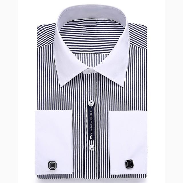 Alimens 13XL 8XL 7XL Big Size Slim Fit Male Casual Shirts Brand Camisa Masculina Long Sleeve French Cuff Dress Shirts For Men-cgabuy