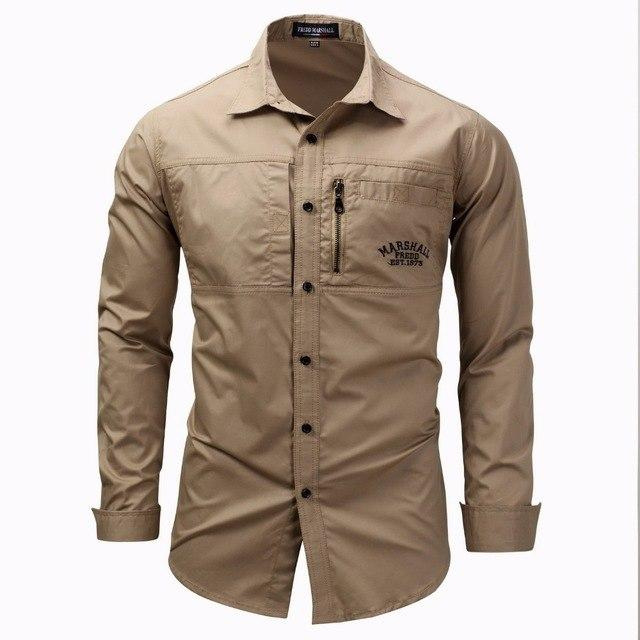 AFS JEEP Brand Military Army Shirt Men 2018 Spring Autumn 100% cotton Long Sleeve Mens Shirts Plus Size S-4XL Camisa Masculina-cgabuy