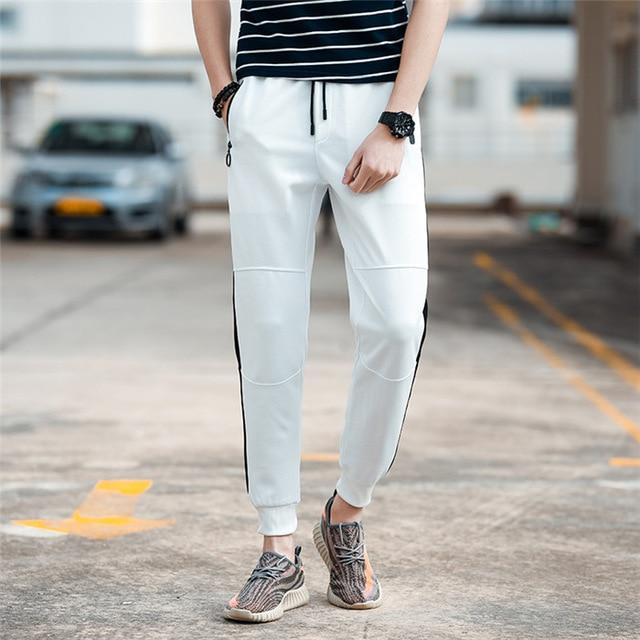 New Fashion Tracksuit Bottoms Mens Casual Pants Cotton Sweatpants Mens Striped Fitness Workout Pants Gyms Clothing Plus Size 5XL-cgabuy
