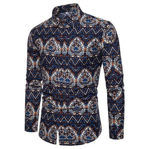 Laamei Fashion Trend Flower Shirt Men 2018 Spring Floral Print Shirts Brand Clothes Casual Business Hawaiian Long Sleeve Shirts-cgabuy