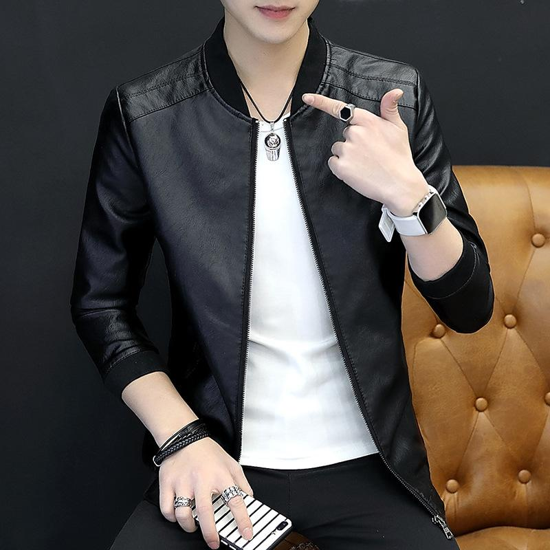 Fall new men's casual pu leather men's jacket jacket slim collar men's wear-cgabuy