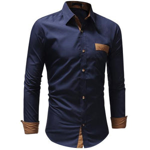 New Mens Dress Shirts Casual Shirts Hawaiian Style Slim Long Sleeve Dress Shirts Camisa Masculina Casual Shirts M-3XL-cgabuy