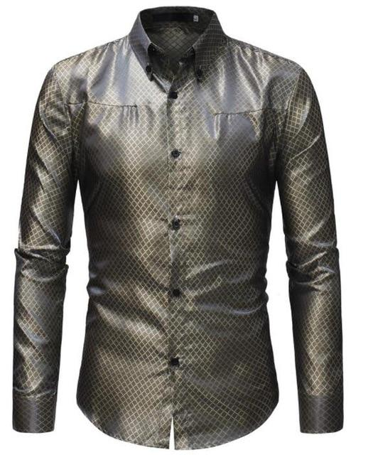 Silk Shirt Men 2018 Satin Smooth Men Grid Shirt Business Chemise Homme Casual Slim Fit Shiny Gold Dress Shirts SIZE 3XL-cgabuy