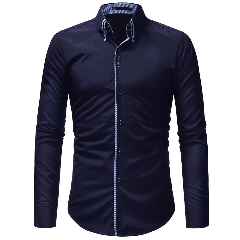 2018 New hot sale Men Shirt Long Sleeves Solid color Mens Dress Shirts Camisa Masculina Autumn Brand Casual Male Shirt Tops 3XL-cgabuy