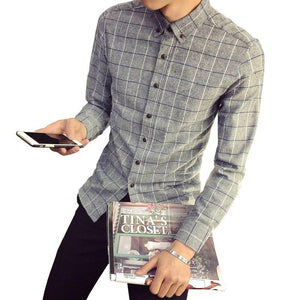 Autumn new brand men's shirt business fashion casual Slim men's plaid cotton long-sleeved shirt high quality men's clothing-cgabuy