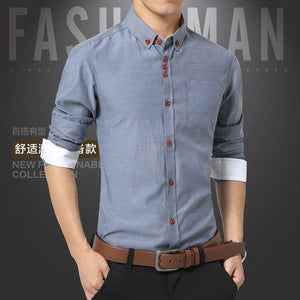 2018 Summer Mens Dress Shirts Cotton Solid Casual Shirt Men Slim Fit Plus Size Long sleeve Stylish Shirt Fashion Plus Size M-5XL-cgabuy
