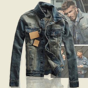 Fashion Solid Casual Slim fits Men's Denim Jacket Bomber Jacket High Quality Cowboy male Jean Jacket Coat Plus Size M-3XL-cgabuy