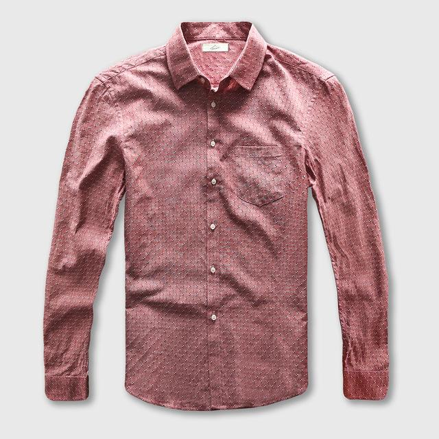 Dot Shirt Men Oxford Dress Casual Shirt Male Cotton Linen Long Sleeve Social Business Slim Fit-cgabuy