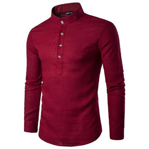 2018 Men casual Shirt Cotton Linen Blended Mandarin Collar Breathable Comfy Traditional Chinese Style long sleeve shirts EU size-cgabuy