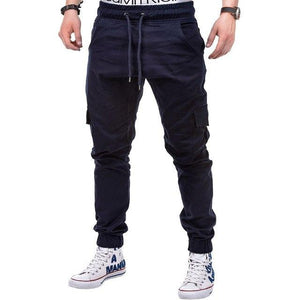 Men's Jogger Pants 2018 Autumn Fashion Male Herren Skinny Fit Cargo Designer Chino Hip Hop Stretch Solid Color Multi-pocket Pant-cgabuy