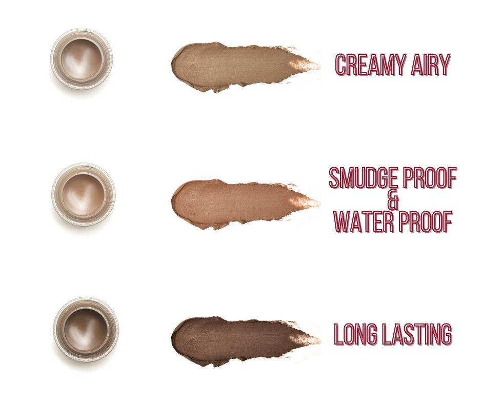 Brow pomade creamy airy, smudge and water proof that's long lasting