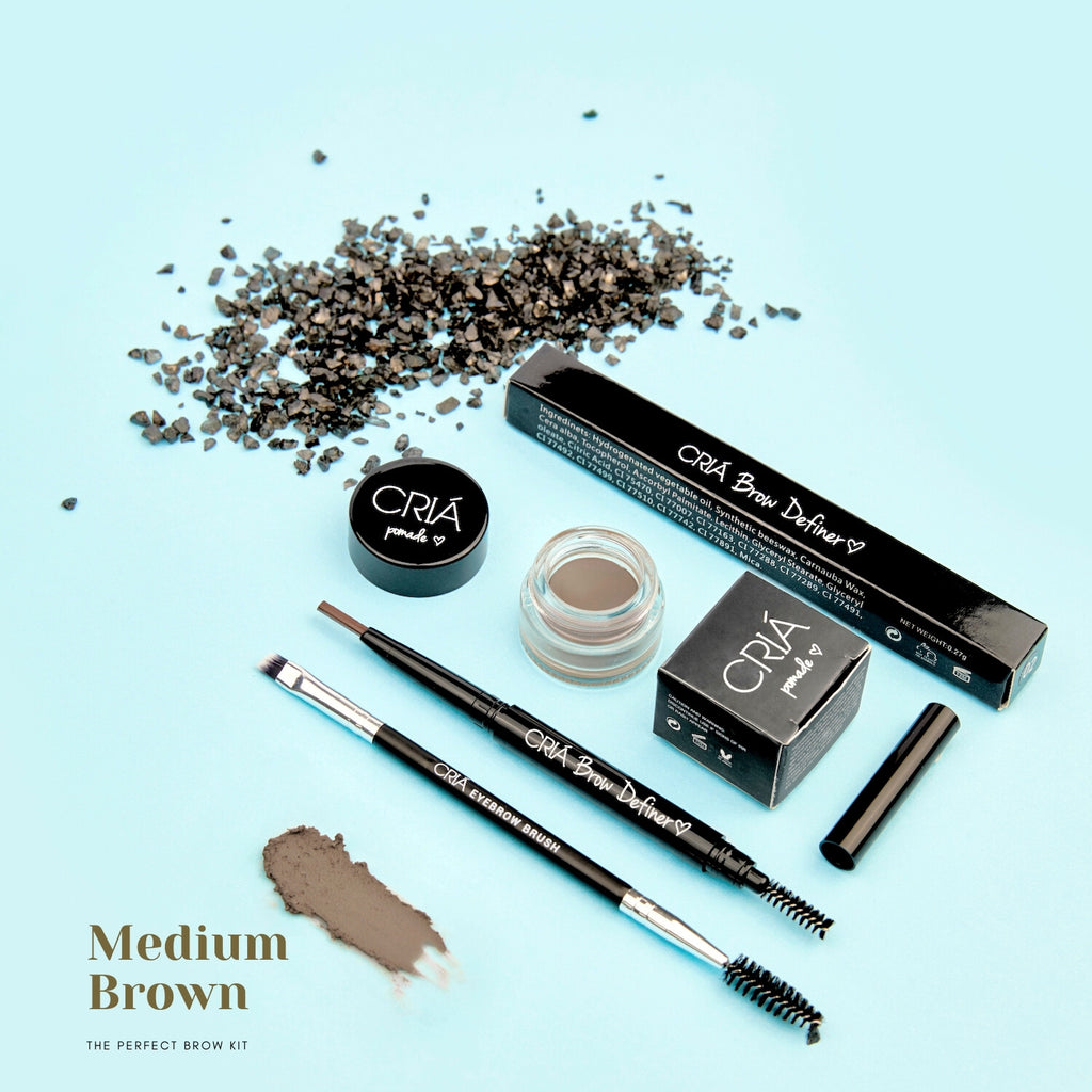 Perfect Brow Trio Kit (Medium Brown) - CRIÁ Cosmetics