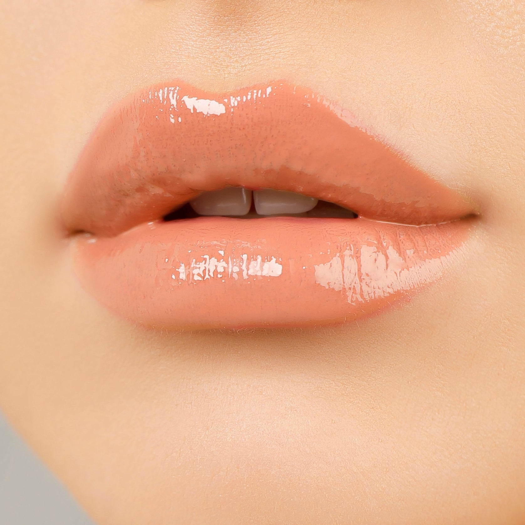 peachy keen on model's lips