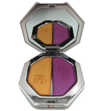 Load image into Gallery viewer, best summer highlighters, summer colors, summer makeup, summer shades, vibrant colors, colorful makeup, coolest makeup new makeup, fenty beauty, fenty highlighter, fenty beauty highlighter duo, killawatt freestyle, mimosa sunrise, sangria sunset