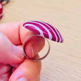 Burgundy + Lilac Stripe Ring | Round