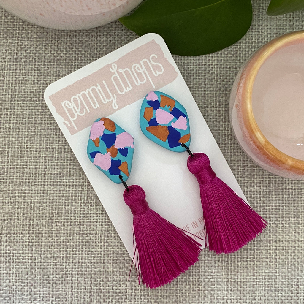 Turquoise + Magenta Tassel Drop | Diamond