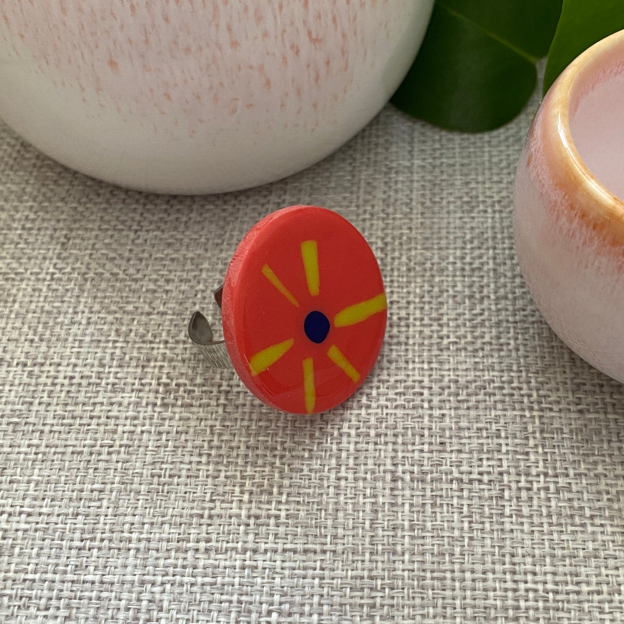 Coral Stripe Ring | Round