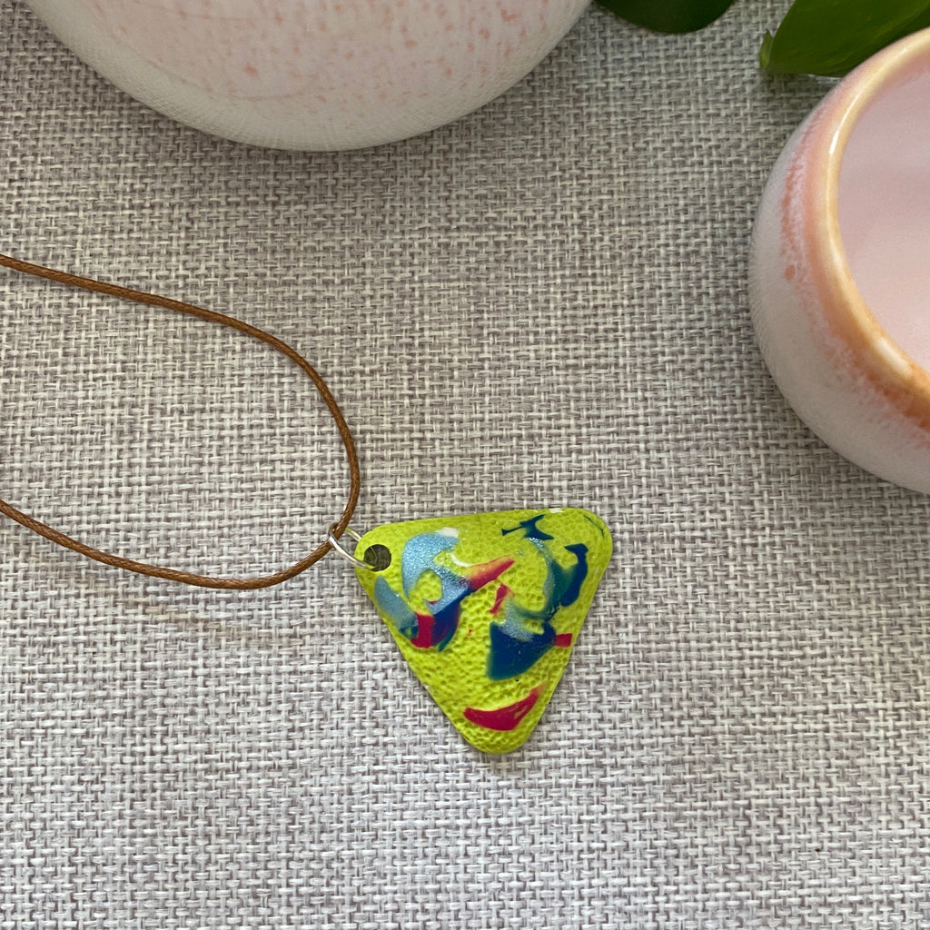 Lime Speckle Pendant | Triangle