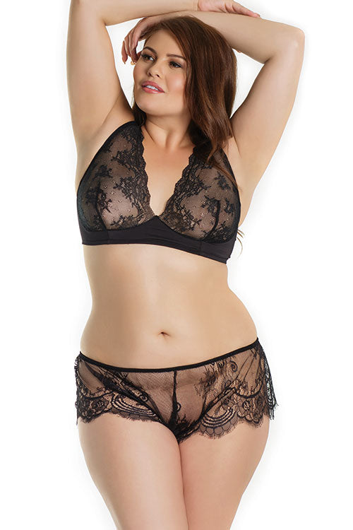 Licorice Lust Soft & Sheer Lace Bralette