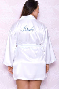 """Bride"" Embroided Satin Robe"