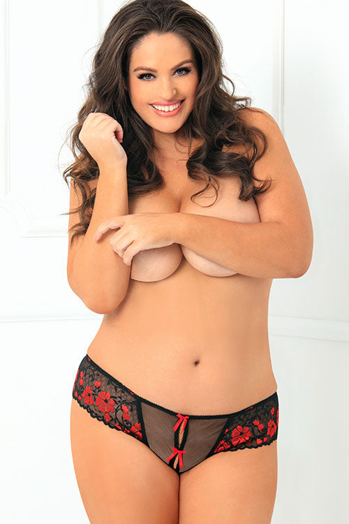 Red & Black Crotchless Thong with Bows