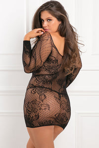 Black With Pleasure Netted Body Stocking Dress