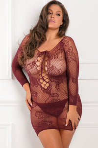 Burgundy Take a Chance Netted Body Stocking Dress