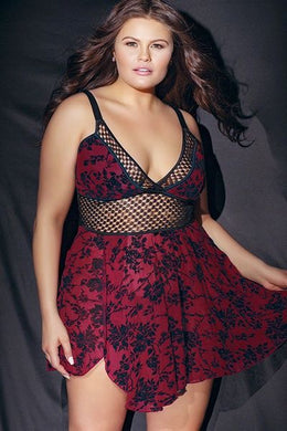 Mila Burgundy Mesh Babydoll with G-String