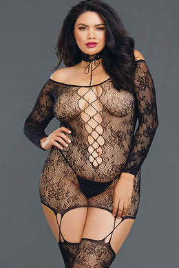 New Wave Off-Shoulder Bodystocking Dress With Thigh Highs