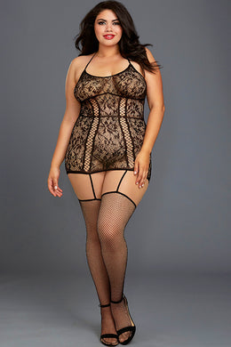 Second Wave Bodystocking Dress With Thigh High Stockings