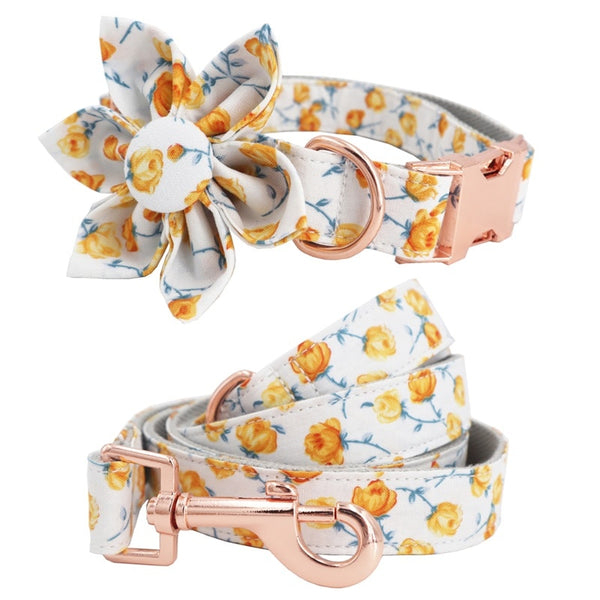 Collar and Leash set with flower for French Bulldog