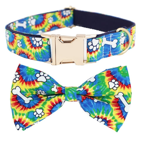 colorful bone Dog Collar Bow Tie with Metal Buckle Big and Small Dog&Cat Collar Pet Accessories