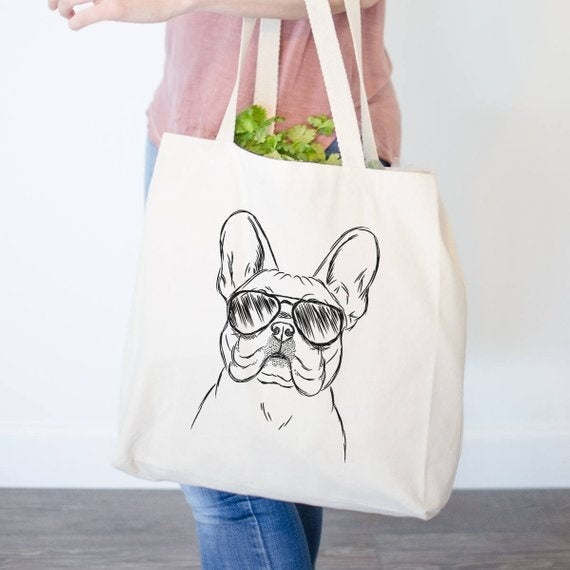 French Bulldog Tote Bag - Gifts For Dog Owner, Dog Lover Bag graphic French Bulldog Tote Frenchie Bag Dog Wearing Sunglasses