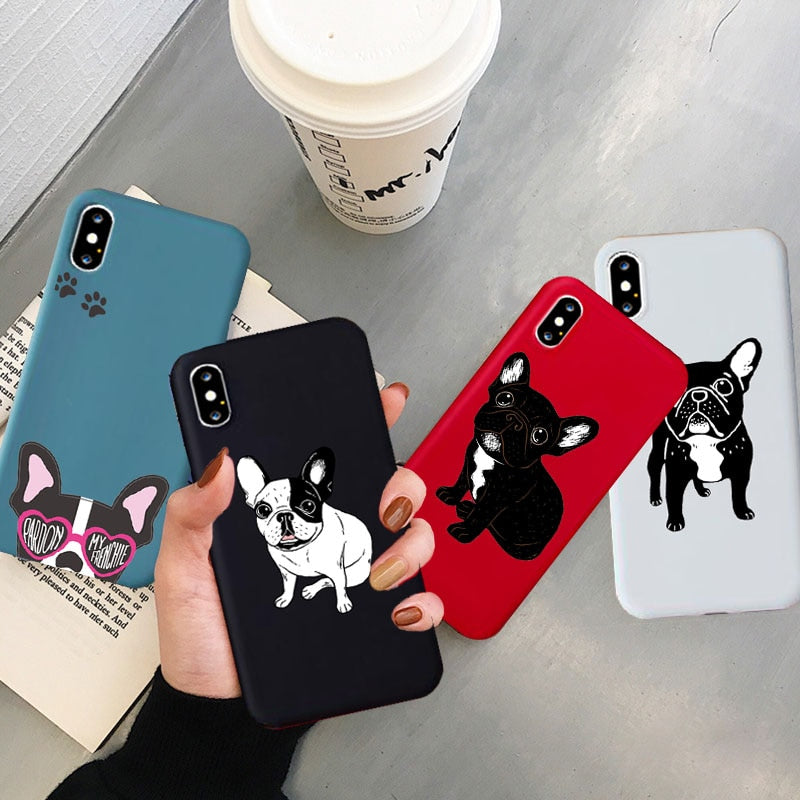 New Cute Brindle Frenchie Puppy Case for IPhone 11 Pro X XR XS Max 8 7 6 6S Plus Cover Soft Silicone Phone Case Capa