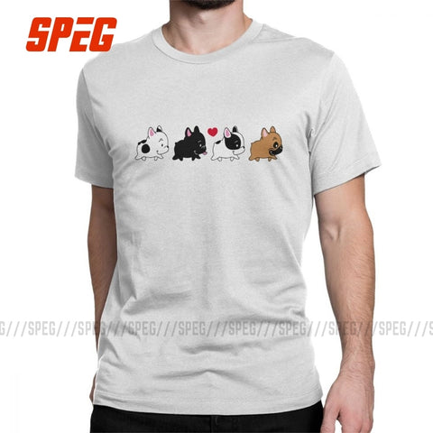 Men's Frenchie Family French Bulldog Dog Lover T Shirts Cotton Clothes Vintage Short Sleeve Tee Gift Idea T-Shirt Plus Size