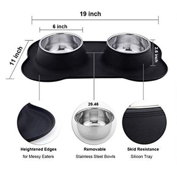 Silicone Dog Bowls Stainless Steel Water and Food Feeder with Non Spill Skid Resistant Silicone Mat for Pets Puppy Small Medi