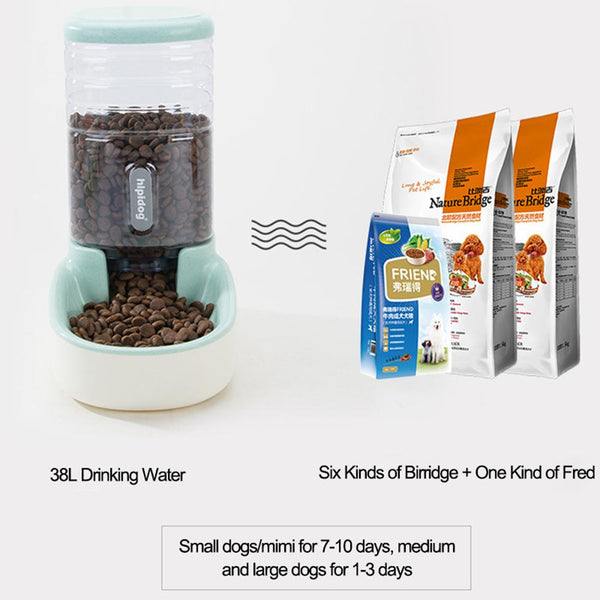 3.8L Two Styles Pet Automatic Feeder Food/Water Drinking Dispenser with Non-slip base Food Container for Dog Cat Teddy Kitten