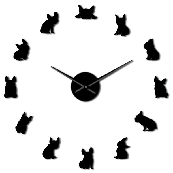 French Bulldog DIY Giant Wall Clock France Domestic Dog Large Modern Wall Clock Frenchie Wall Watch Dod Breeds Dog Lovers Gift