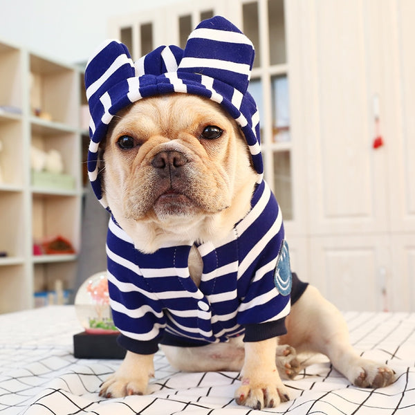 Stripe Hoodie for French Bulldog