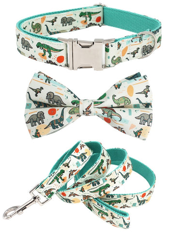 Collar and Leash set with bow tie for French Bulldogs