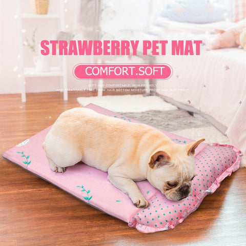 Strawberry Pink Puppies French Bulldog Bed Mat Summer Soft Non-slip Pet Dog Sofa Protector Cushion For Small Animal S L Yorkies
