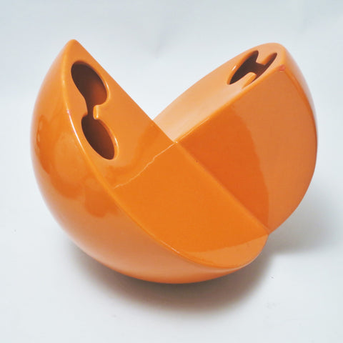 Vase boule en ceramique orange Parravicini